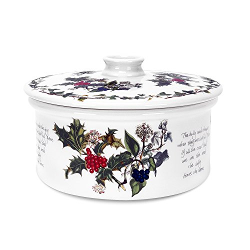 Casserole Holly (Portmeirion The Holly & The Ivy Covered Casserole 48 Oz - Round Drum Shape)