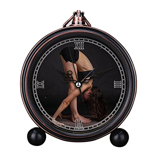 Price comparison product image GIRLSIGHT Vintage Retro Living Room Decorative Non-Ticking,  HD Glass Lens,  Quartz,  Analog Large Numerals Bedside Table Desk Alarm Clock Cute Cat Dog Series -330.Woman,  Body,  Stretching,  Yoga