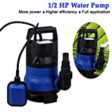 Sump Pump 1/2 HP Submersible Pumps Portable Transfer Water Pump Electric Flood Drain