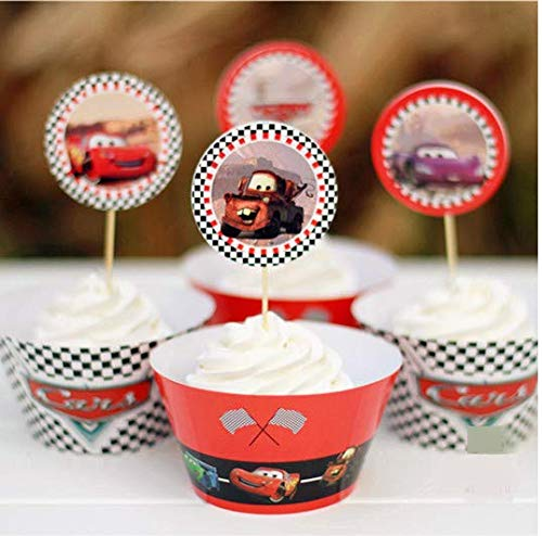 (Astra Gourmet Cars Cupcake Wrappers & Toppers Kids Birthday Party Decor Supplies - 24)