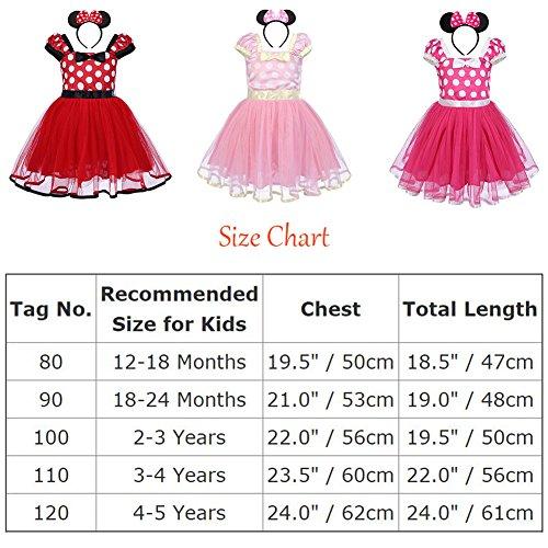 Minnie Costume Baby Girl Tutu Dress Mouse Ear Headband Polka Dot First Birthday Halloween Fancy Dress Up Princess Outfits 100 by OBEEII (Image #8)