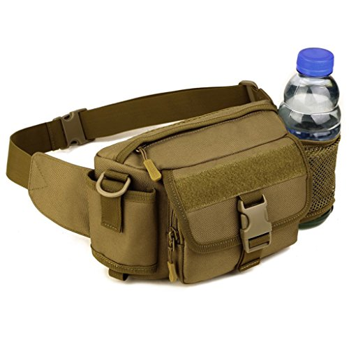 Taktische Umhängetasche, kann als Gürteltasche verwendet, mit Flaschenhalter - Farbe Auswählbar Braun