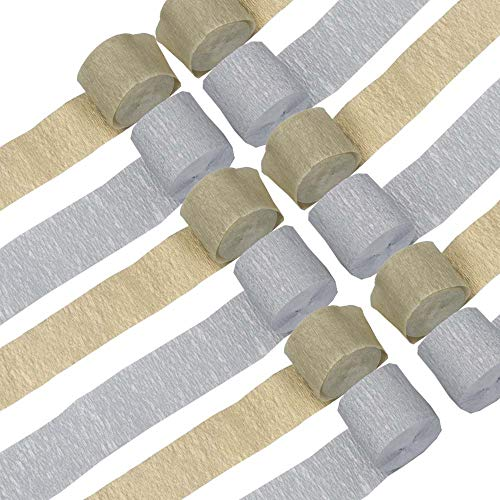 Gold and Silver Crepe Paper Streamers 12 Rolls 2 Color Silver Gold Party Streamer Decorations for Various Birthday Party Wedding Festival Party Decorations
