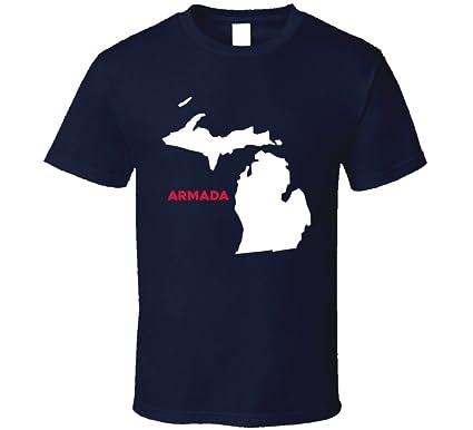 Amazon Com Armada Michigan City Map Usa Pride T Shirt Clothing