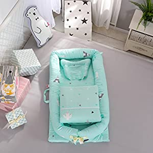 DOLDOA Baby Bassinet for Bed Portable Baby Lounger for Newborn,100% Cotton Newborn Portable Crib,Breathable and Hypoallergenic Sleep Nest Newborn Lounger Pillow for Bedroom/Travel (Cactus – Green)