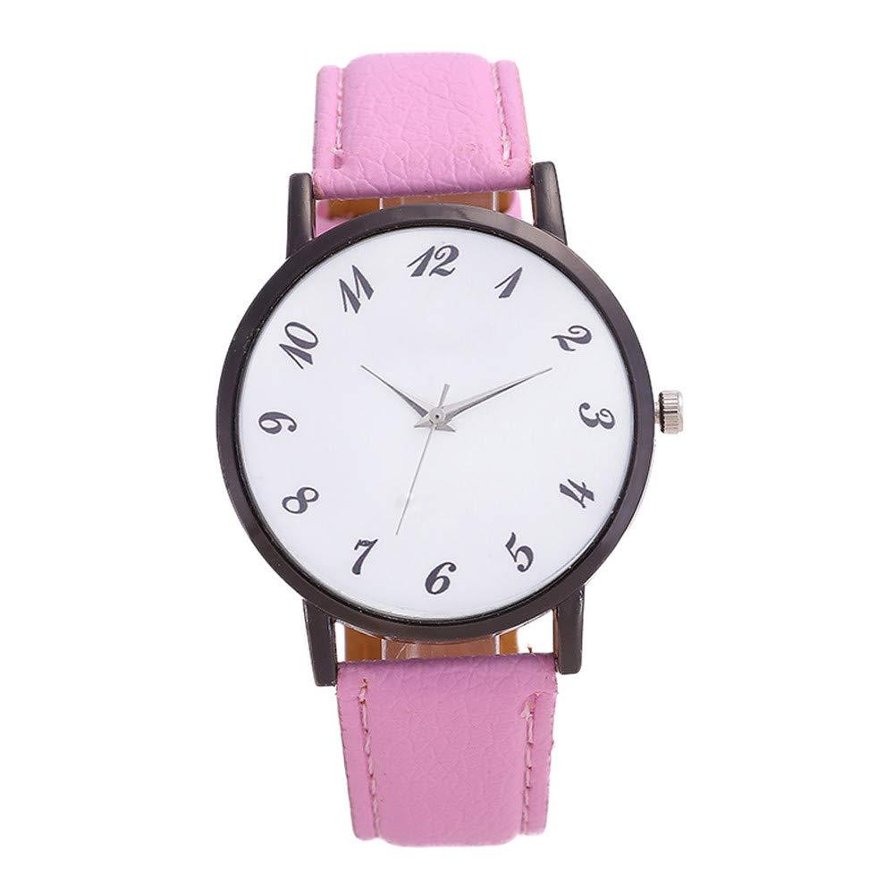 NRUTUP Women Fashion Leather Band Analog Quartz Round Wrist Watch Watches Hot Sales(Pink,Free Size)