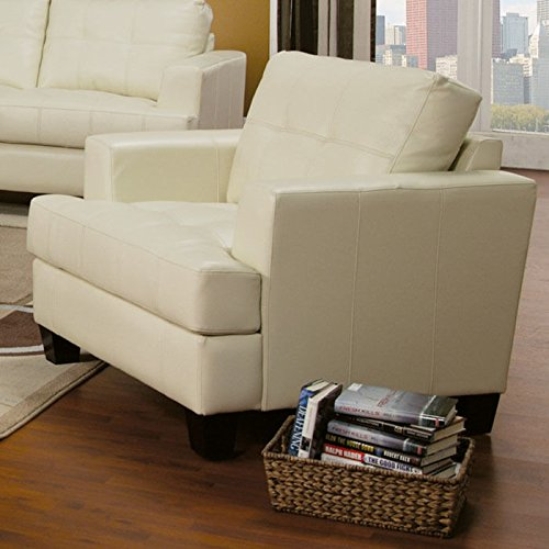Amazon.com: Coaster Samuel Contemporary Leather Chair, Cream: Kitchen U0026  Dining