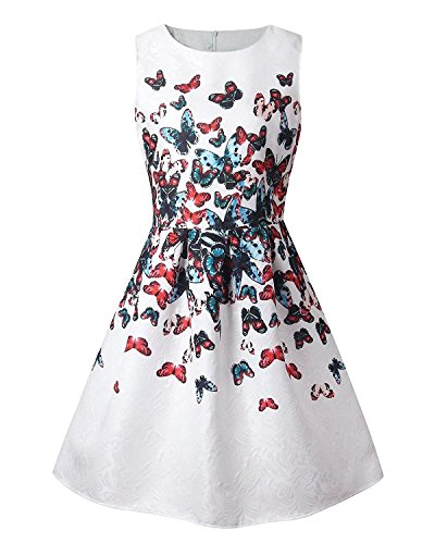 Girl Sleeveless Floral Butterfly Print Cute Tank Mini A Line Skater Dress, 6-7 Years / Tag 130 -