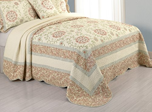 Modern Heirloom Collection Rosaleen Cotton Quilted Bedspread, Queen, 102 by 118 Inch - Pillow ...