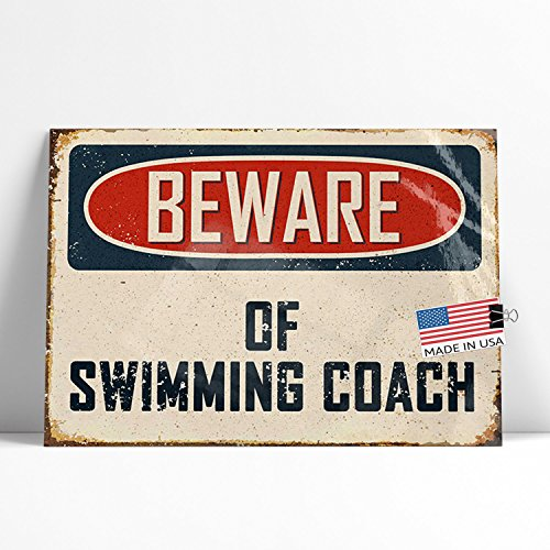 NEONBLOND Large Poster Beware Of Swimming Coach Vintage Funny Sign Printed in Atlanta (Printed Coaches)