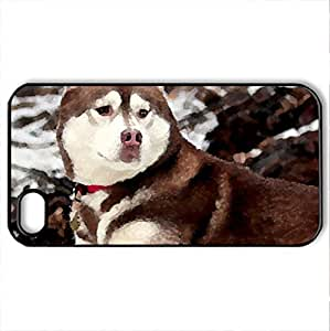Beautiful Dog - Case Cover for iPhone 4 and 4s (Dogs Series, Watercolor style, Black) by icecream design