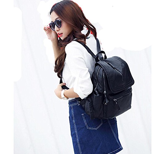 Sheepskin Backpack Cosmetic School Soft Traveling Fhrr Genuine Ladies Bag Cover Ms Student Leather Sj 4RB6wTqF
