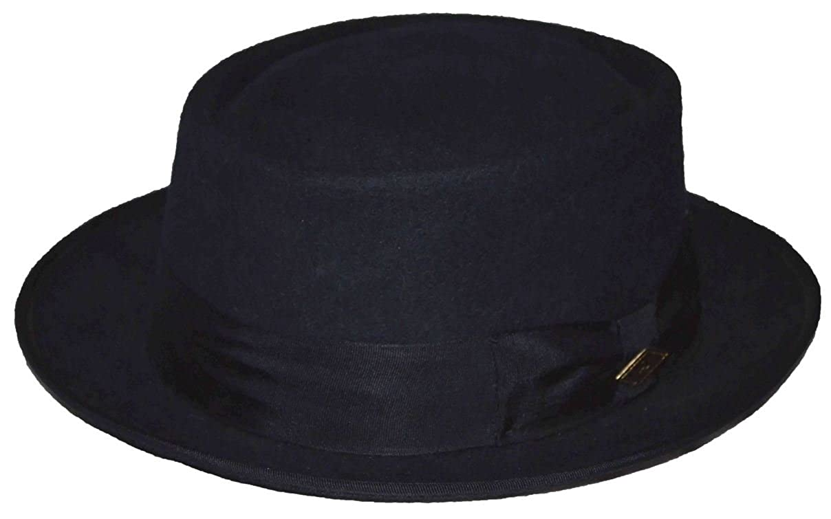 STACY ADAMS Men s Pork Pie Wool Felt Fedora Navy Blue at Amazon Men s  Clothing store  b0c03f54965