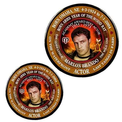 Marlon Brando Actor Magnet + Pin, Astrology Aries, Zodiac Year Wood Mouse