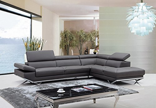 VGKNK8488-ECO-GRY Divani Casa Quebec Sectional Sofa with Adjustable Headrests Right Facing Chaise Metal Legs and Eco-Leather Upholstery in Dark Grey