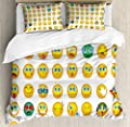 Hedda Clare Luxury Quilt coverCouple Monster Face Moods Duvet Cover Set1 Duvet Cover + 2 Pillow Shams