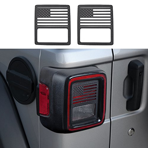 JeCar Aluminum Alloy Tail Light Covers Guards Protectors for 2018 Jeep Wrangler JL Sport/Sport S -2pcs