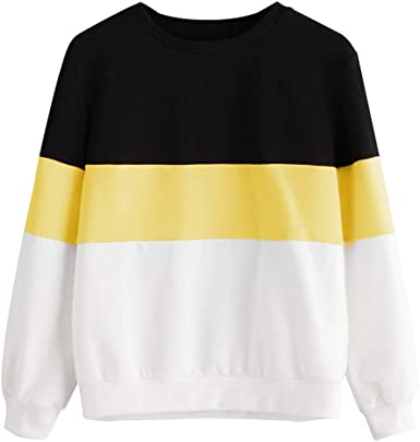 Clearance SFE Womens Hoodie Pullover Stripe Patchwork Hooded Sweatshirt Autumn Winter