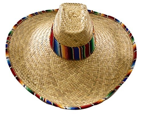 Giant Jumbo Straw Waster Western Cowboy Mexican Hat With Serape Band And (Sombrero Hat With Serape Band)