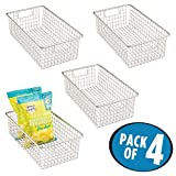 mDesign Household Wire Food Storage Organizer Bin Basket with Built-In Handles, Grid Design - for Kitchen Cabinets, Pantry, Closets or Bedrooms, Bathrooms - 16'' x 9.5'' x 5.25'', Pack of 4, Satin