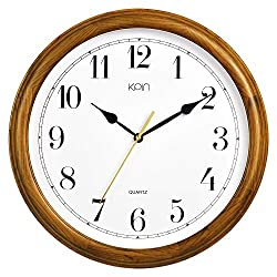 Kpin 14 inch Silent Quartz Decorative Real Wood Wall Clock Modern Style Good for Living Room & Home& Office (Cherry Wood, 14 Inch)
