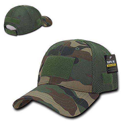 Low Crown Air Mesh Tactical Cap with Loop Patch - Woodland ()