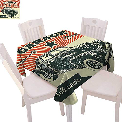 cobeDecor Cars Dinning Tabletop DecorRetro Car and Garage Advertising Poster Style Picture with Grunge Effects 1960s Table Cover for Kitchen 54