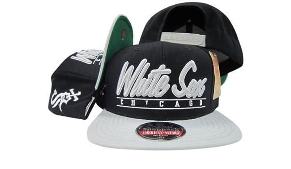 Amazon.com  American Needle Chicago White Sox Black Grey Snapback  Adjustable Plastic Snap Back Hat Cap  Clothing 8e7a82bb6