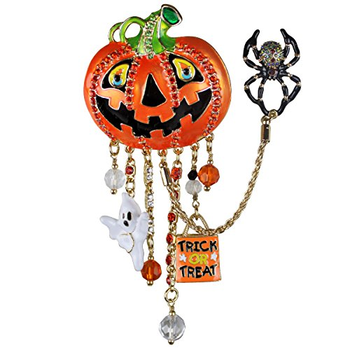 Ritzy Couture Halloween Jack O' Lantern Pumpkin Face Multi Charm Pin/Pendant (Goldtone) Women Jewelry]()