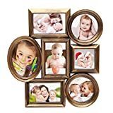 DecentHome Antique Golden Plastic 7-Opening Wall Hanging Photo Collage Frame