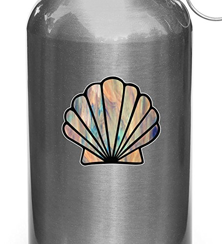 Shell - Scallop Seashell - Stained Glass Style Vinyl Decal f