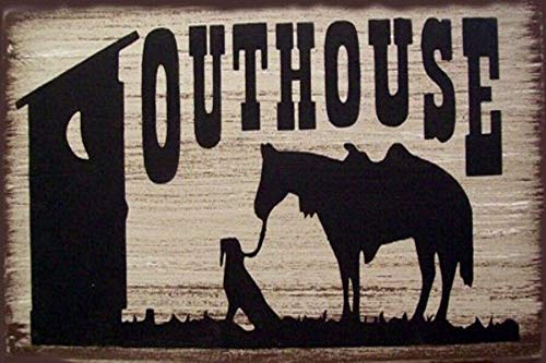 Tiukiu Outhouse Horse and Dog Rustic Wood Sign Wooden Plaque Wall Decor (Dog Outhouse)