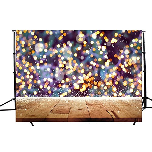 DODOING 7x5FT Photography Background Children Wood Wall Sparkle Glitter Bokeh Yellow Spots Shining Photography Backdrops for Photo Studio Props by DODOING (Image #1)