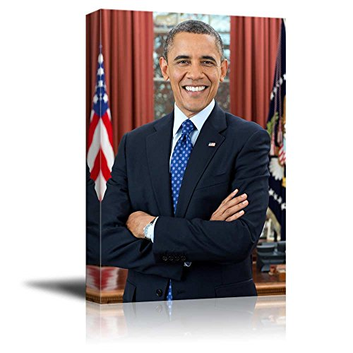 (wall26 - Portrait of Barack Obama (44th President of The United States) - American Presidents Series - Canvas Wall Art Gallery Wrap Ready to Hang - 24x36 inches )