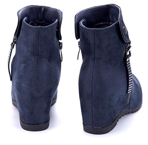 Blau Boots Keilabsatz 7 cm Keilstiefeletten Damen Schuhtempel24 Stiefel Stiefeletten Schuhe Reißverschluss Ziersteine PqTTwS