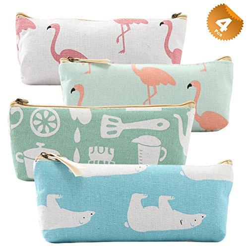 EuTengHao 4 Packs Pencil Case Holder,Canvas Designed Cute Animal Zipper Bag Student Pencil Pen Case Box,Makeup Brush Bag,Coins Bag,Multiple Storage Bag,Cosmetic Bag