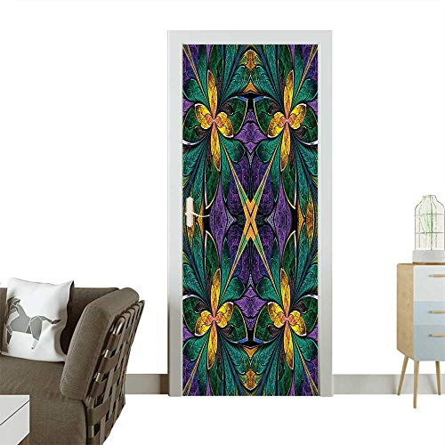 Door Sticker Wall Decals Antique Ornate Symmetric Stained Glass Style Floral Pattern with Free 3D Glasses Easy to Peel and StickW23.6 x H78.7 - Lilly Glass Stained