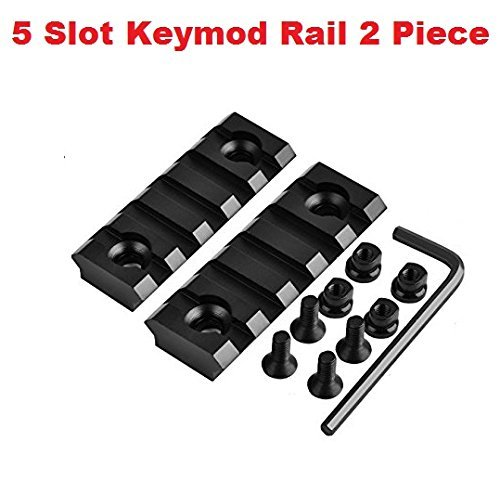 Gotical 5 Slots Key mod Rail Section for Keymod Handguard Five Slots Keymod Rail Picatinny Rail Set of 2 Pieces ()