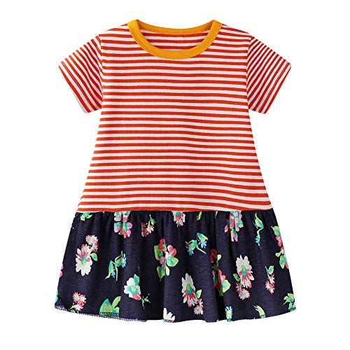 Ruffle Striped Short Shirt Cotton Sleeve - BIBNice Toddler Girls Tunic Tops Stripe Cotton Dress Short Sleeves Basic Active Shirt Dresses 18M