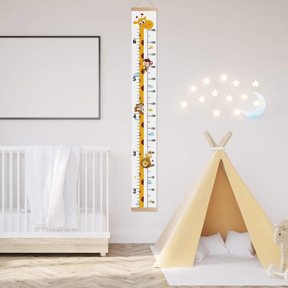 B/éb/é la taille Charte de croissance mur Pendaison R/ègle de mesure Amovible Toile et bois R/ègle de mur pour enfants Chambre dEnfants D/écor