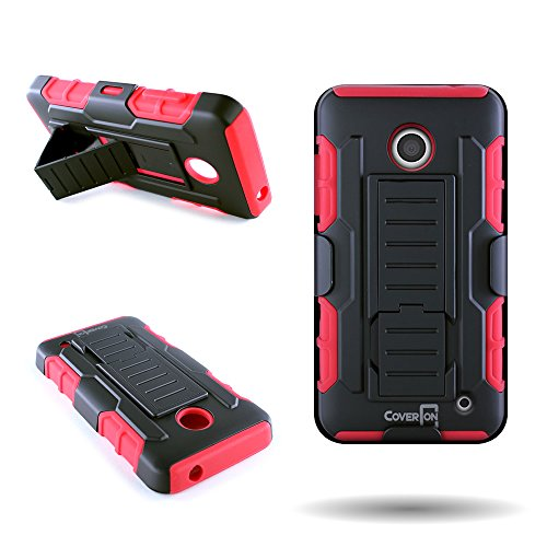 Nokia Lumia 635 Phone Case, CoverON [Trekker Series] Belt Clip Holster Kickstand Combo Hybrid Armor Case for Nokia Lumia 635 - Red & Black (Girly Nokia Lumia 635 Cases)