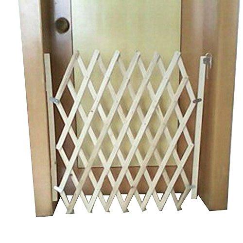 URIJK Expanding Swing Dog Fence Indoor Wooden Screen Dog Gate Pet Safety  Protection Room Divider Gate, 32u2033 X 43u2033