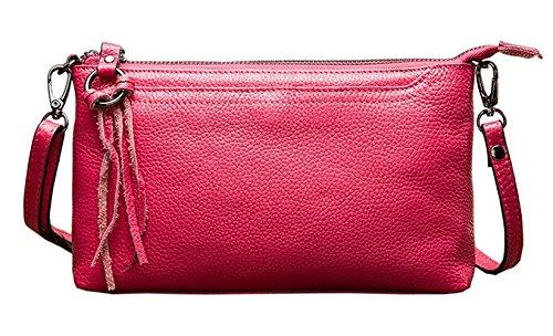 cuir Rouge Saierlong Woman en Sacs New Silver véritable Sacs bandoulière à Rose bandoulière q0aq7R