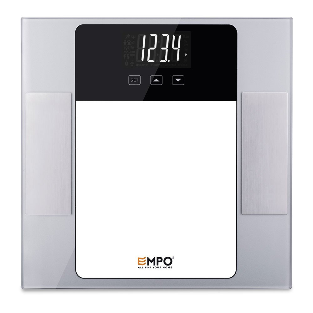 Bilancia Pesapersone EMPO in vetro temperato -Bilancia pesapersone digitale di alta precisione da bagno - Misura il peso, il grasso corporeo, i muscoli, e il fabbisogno giornaliero di calorie -Argento