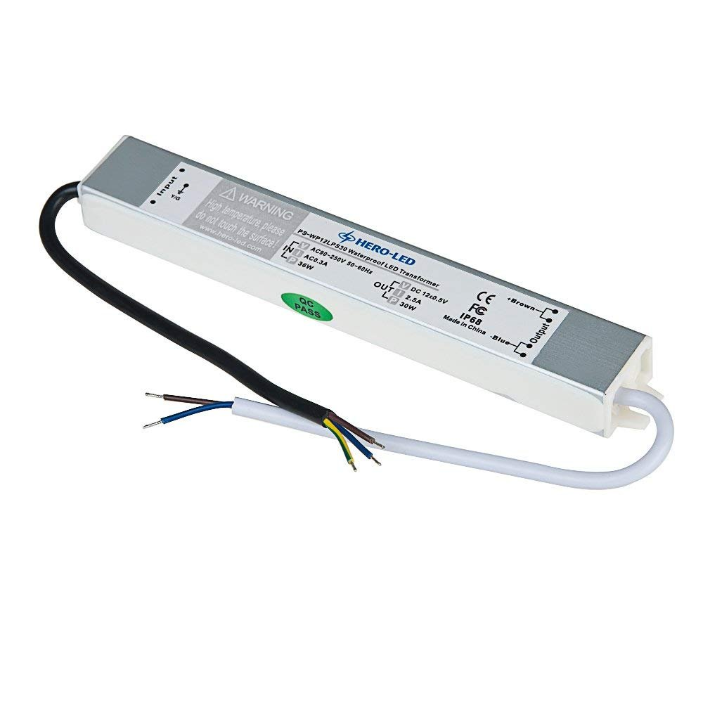 HERO-LED PS-WP12LPS30 LED Power Supply - Constant Voltage LED Transformer - Waterproof Power Supply 12V DC, 2.5A, 30W