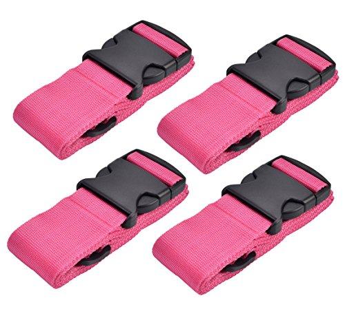WeBravery Adjustable Luggage Strap Suitcase Belt Bag Straps Travel Accessories (4Pack-Pink)