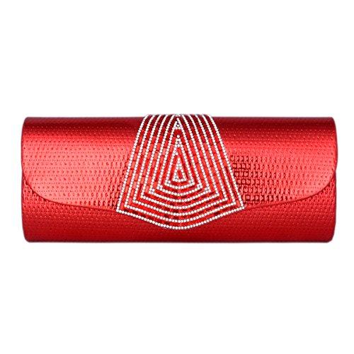 Day of Saturn Empleadoras Clutch De Cuero Brillante Solapa Con Diamantes Blings Lindo Por Fiestas Tipo Cuadrado,Plateado Rojo