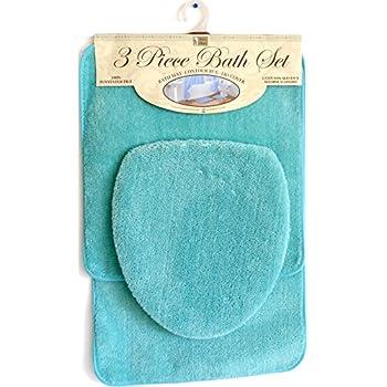 Amazon Com 3 Piece Bath Rug Set Turquoise Bathroom Mat