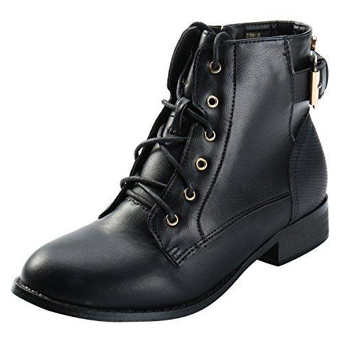 (Alexis Leroy Women Vintage Studded Lace up Buckle Combat Low Heel Short Martin Booties Black 38 EU / 7-7.5 US)