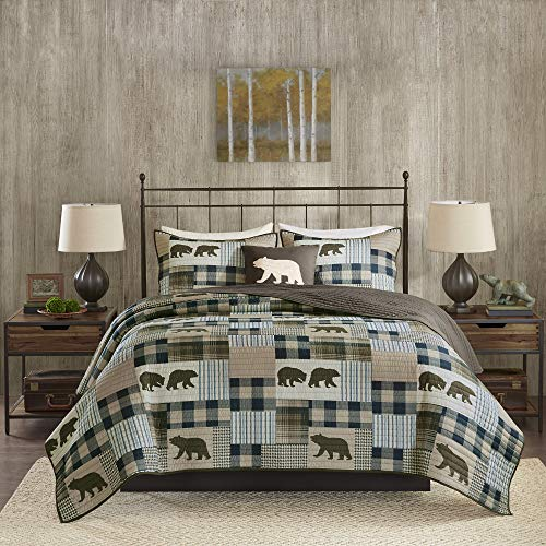 Woolrich Quilt Set, Full/Queen, Twin Falls Brown/Blue (Brown Green Sets And Quilt)